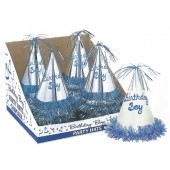 Birthday Boy Glitter Party Hat Bulk Shipped Pre Packed in Counter Display Boxes