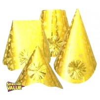 Gold Foil Party Hats Assorted Shapes Bulk