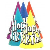 Solid Happy Birthday Hats Assorted Bulk