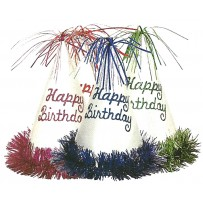 Birthday Glitter Fringe Party Hats Assorted PKG