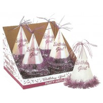 Birthday Girl Glitter Party Hat Bulk Shipped Pre Packed in Counter Display Boxes
